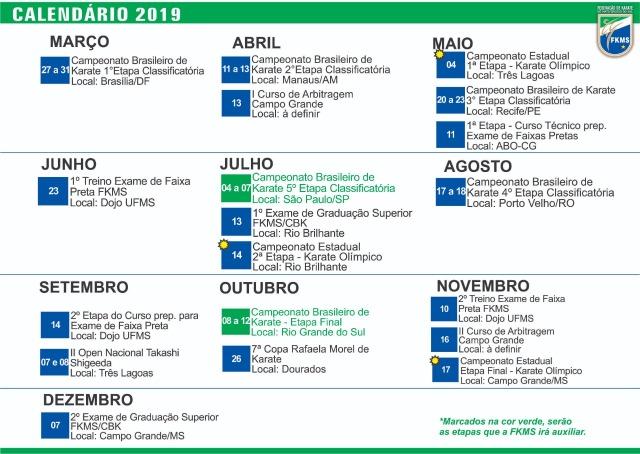 Calendario 2019 Rio Grande Do Sul.Fkms Atualiza Calendario 2019 Federacao De Karate De Ms